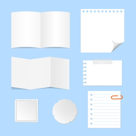 post cards: paper sheet, blank note, memo set Illustration