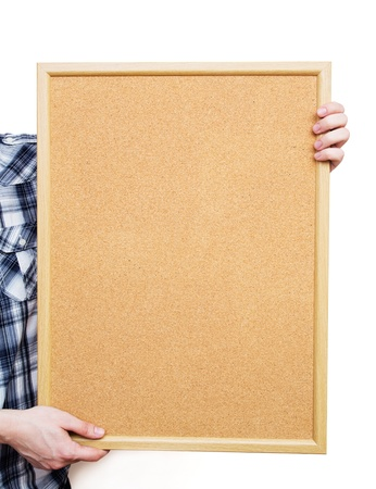 Man holding pin board on white background Stock Photo - 19278905