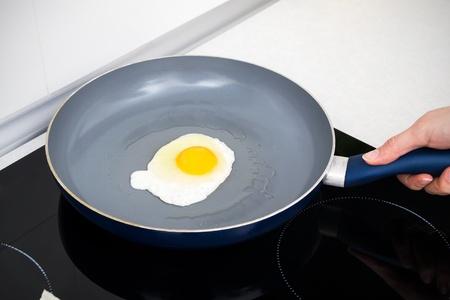 aceite de cocina: Huevo salado en una sartén