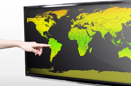 Hand showing blank world map on LED TV screen