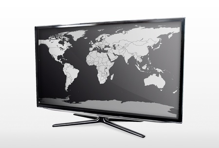 Modern LED TV screen with blank world map Stock Photo - 19278866