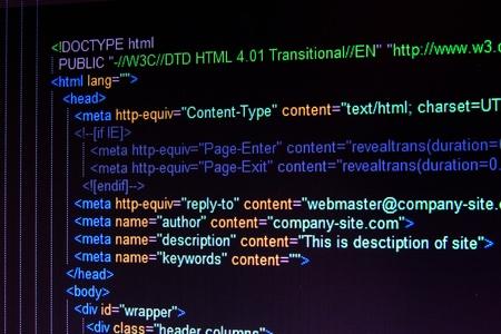 Code of HTML language on black LCD screen Stock Photo