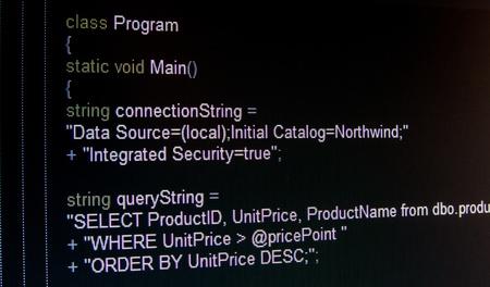 Code of C language on black LCD screen Stock Photo - 19278900