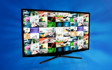 Widescreen high definition TV screen with video gallery. Television and internet concept on blue background photo