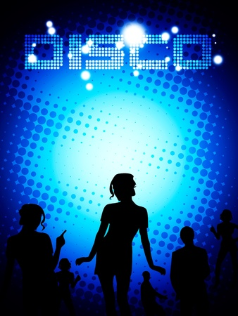 clubbing: Disco poster template. Blue layout composition