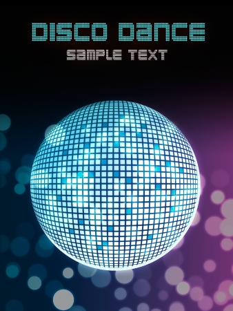 dancing disco: Disco ball poster background for party event