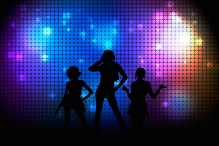 clubbing: Disco poster with girls. Illuminated wall Stock Photo