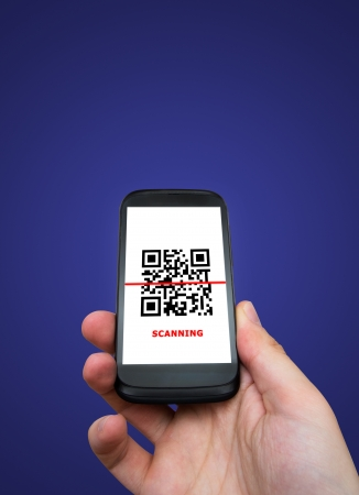 restricted access: Smartphone scanning QR code