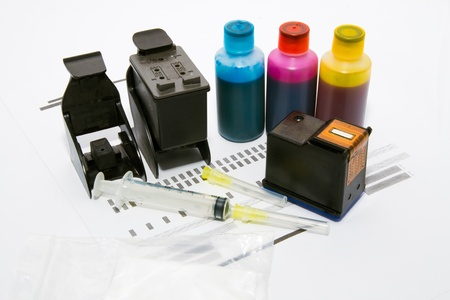 refill: Ink refill set for printer Stock Photo