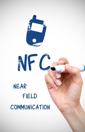 Hand drawing NFC payment technology content on white board