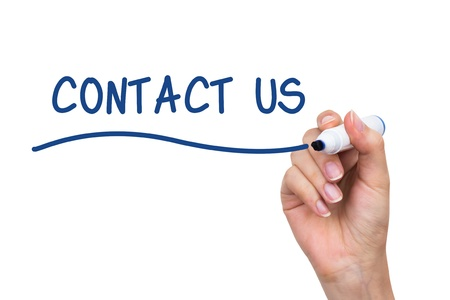 Hand writing Contact Us with blue marker on virtual board Stock Photo