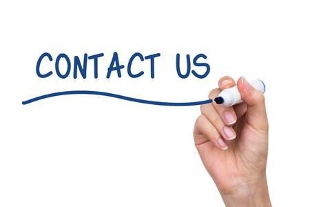 fix: Ruční psaní Kontakt s modrou značku na virtuální palubě Reklamní fotografie