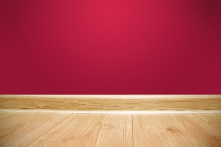 Red wall and wooden floor background photo