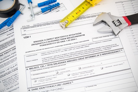 vat: Polish tax form and tools  Credit for home construction  Stock Photo