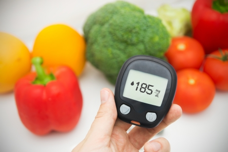 blood sugar: Hand holding meter. Diabetes doing glucose level test. Vegetables in background