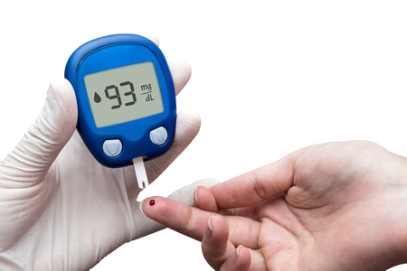 blood sugar: Doctor making blood sugar test.