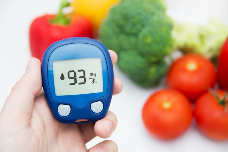 glucometer: Hand holding meter. Diabetes doing glucose level test. Vegetables in background