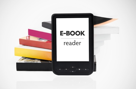choose university: Modern e-book reader with books in background