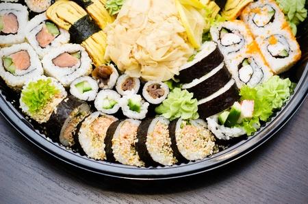 takeaway: Sushi set takeaway. Traditional Japanese food.