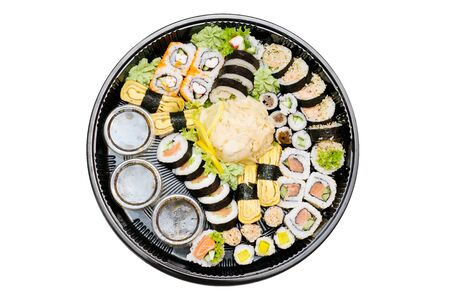 Traditional Japanese food. Sushi set takeaway photo
