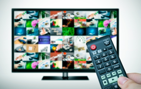 multiple images: Remote and TV with multiple images gallery