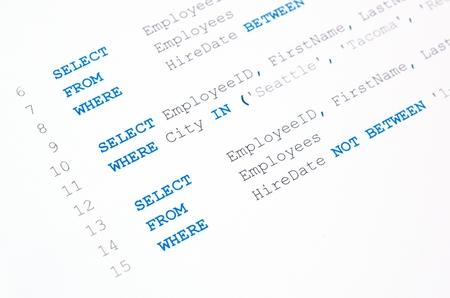 白い背景の上の SQL 構文のコード 写真素材 - 28263454