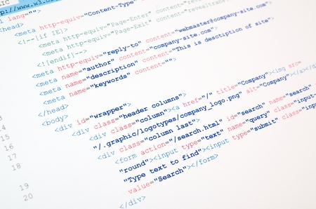 Code of HTML language on white background