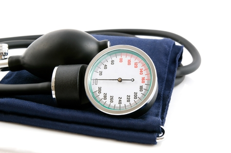 cuff: Medical sphygmomanometer on a white background
