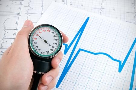 blood pressure cuff: Sphygmomanometerfor measure blood pressure on medical background