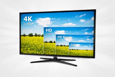 lcd tv: 4K television display with comparison of resolutions