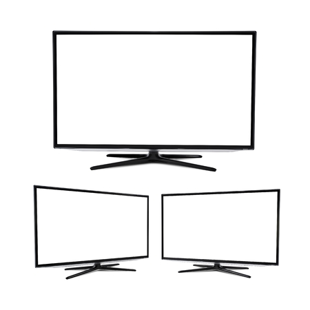 モダンなフラット画面テレビ セット、白で隔離 写真素材
