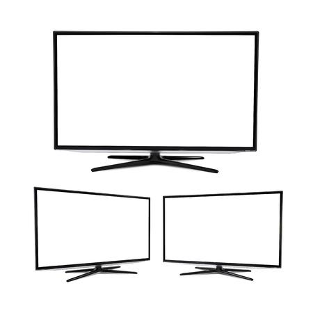 Moderne blank Flachbild Fernseher, isoliert auf weiß Standard-Bild - 31114264