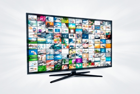 tv network: Widescreen high definition TV screen with video gallery. Television and internet concept  Stock Photo