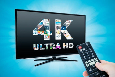 TV ultra HD. 4K television resolution technology photo