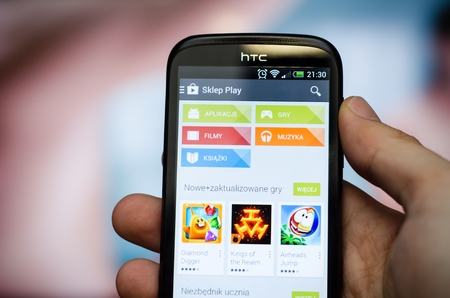 WROCLAW, POLAND - SEPTEMBER 10, 2014: Increasingly wider range of Google Play Store in Poland