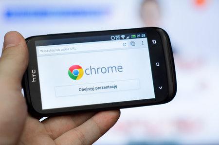 cromo: Google Chrome navegador web m�vil Editorial