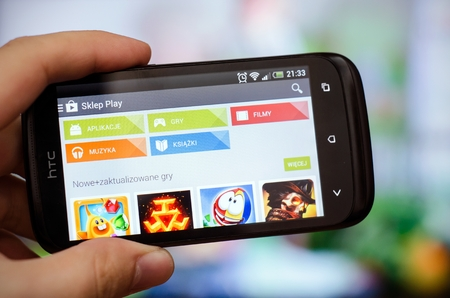 play popular: WROCLAW, POLAND - SEPTEMBER 10, 2014: Increasingly wider range of Google Play Store in Poland