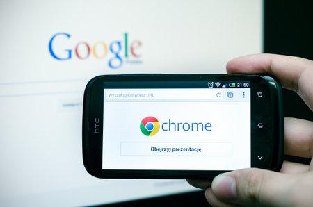 Google のクロムの携帯電話のウェブブラウザー 報道画像