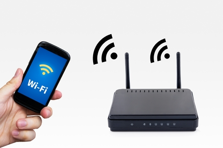 Wireless router with mobile device network concept photo