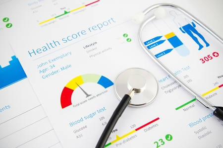 medical record: Health condition score report. Stethoscope on medical background.