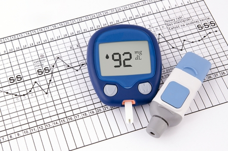 blood glucose: Testing blood glucose level. Test for diabetes before pregnancy Stock Photo