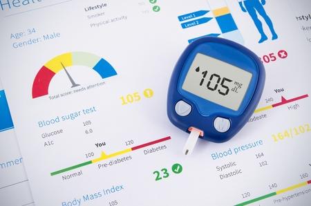 mellitus: Health examination. Glucometer and test for diabetes