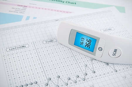 contactless: Contactless digital thermometer on fertility chart background Stock Photo