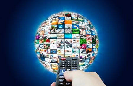 テレビ放送マルチ メディア球抽象的な構成 写真素材