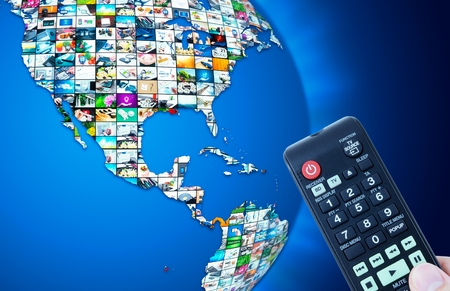 Television broadcast multimedia world map abstract composition Standard-Bild