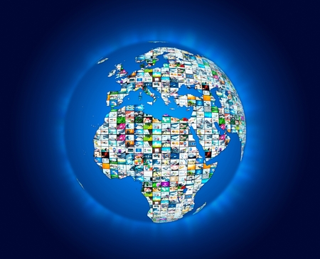 tv panel: Television broadcast multimedia world map abstract composition Stock Photo