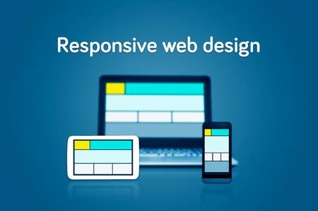 site web: Responsive web design layout on different devices. Set on dark background Stock Photo