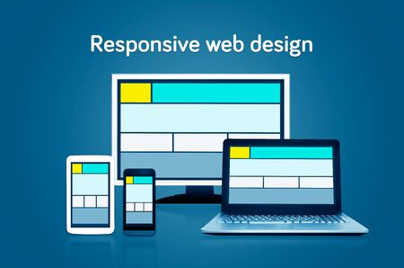 website template: Responsive web design layout on different devices. Set on dark background Stock Photo