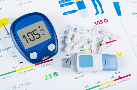 diabetes meter kit: Diabetic test kit on medical background