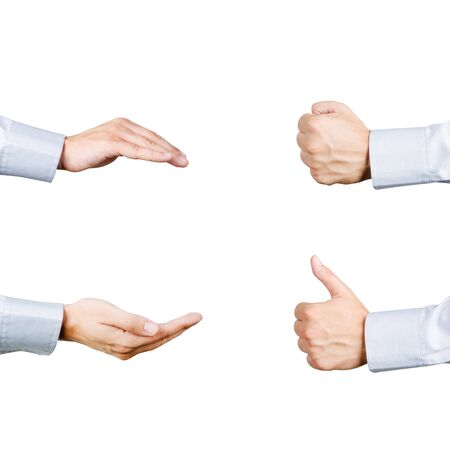 white shirt: Businessman hands gesture set. Care, give, fist and thumb collection isolated on white background